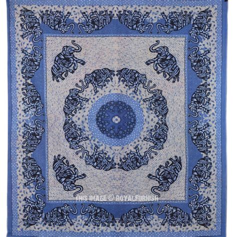 blue pattern tapestry big blue indian elephant ring pattern hippie mandala