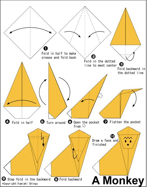 How To Make An Origami Monkey - diagram