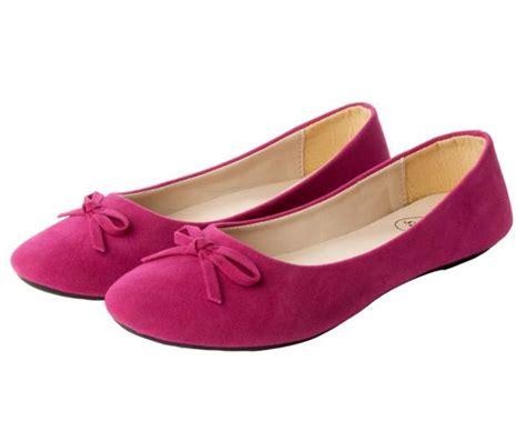 fuschia pink flat shoes new womens fuschia pink microsuede bow flat dolly pumps