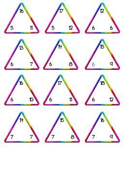 Triangle Multiplication Flash Card Template by Printable Multiplication Fact Family Cards Classroom