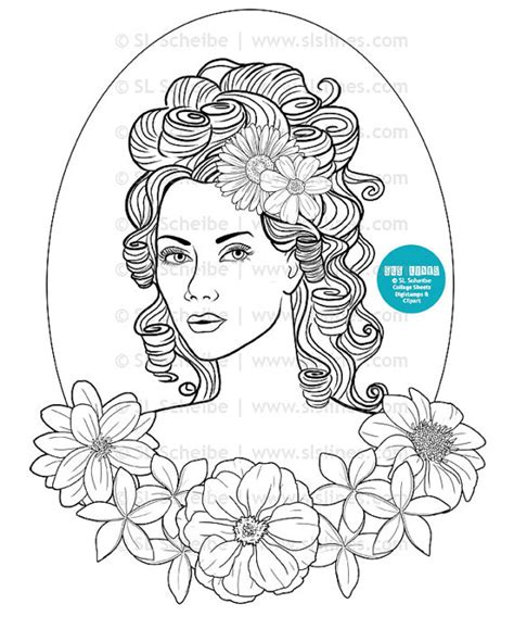 Pretty Hair Coloring Pages | digital st pretty lady with flowers in her hair adult