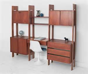 Desk Wall Unit by Vintage Modular Teak Wall Unit Mid Century Modern