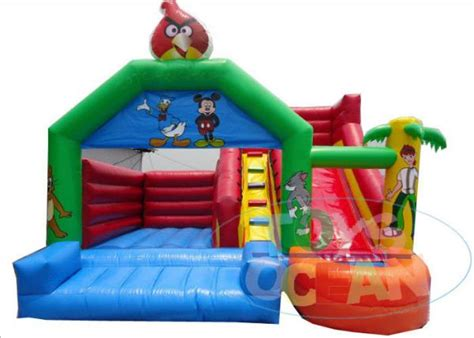 details of childrens bouncy castle with slide