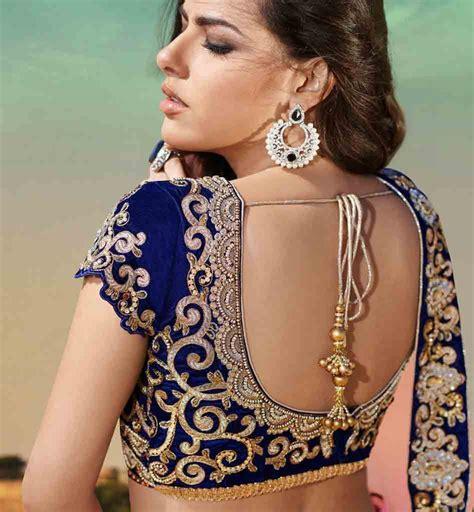 Cheli Blouse blue backless choli blouse back design designer saree blouse designs for wedding