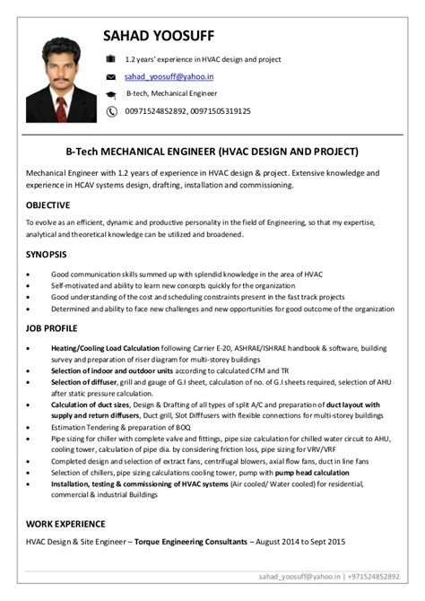 Resume Sample Job Experience by Resume Mechanical Engineer Hvac