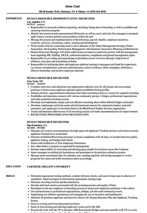 human resource recruiter resume sles velvet