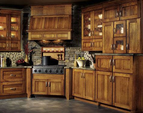 rustic stained pine cabinets traditional hickory