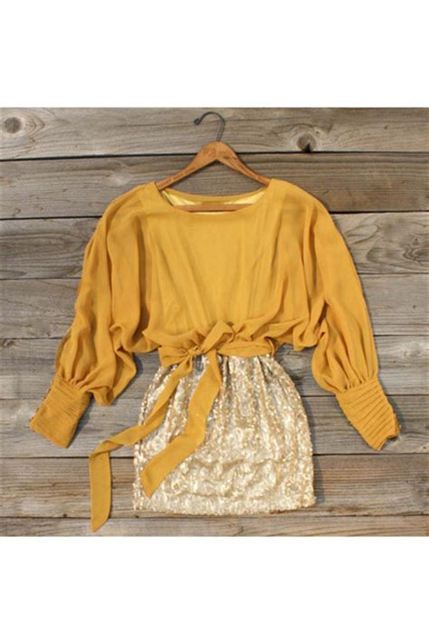 143074 Squin Top Mustard mustard spool no 72 tops gold gold spool no 72 skirts quot sequined autumn dress quot by madiluxury