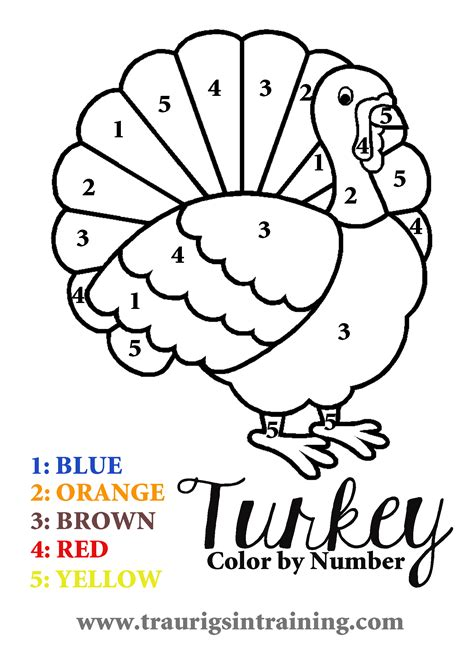 printable turkey color by number 6 best images of free printable color by number turkey