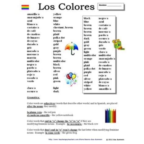 color in spanish spanish colors colores vocabulary list grammar explanation