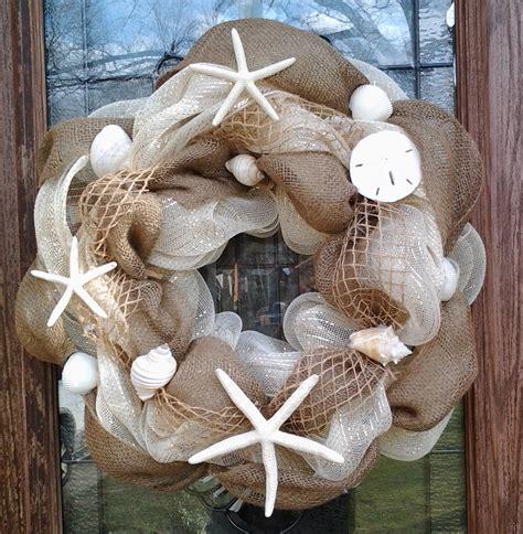 burlap wreath seashell burlap wreath