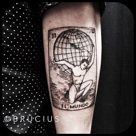 world on shoulders el mundo atlas dotwork tattoo by