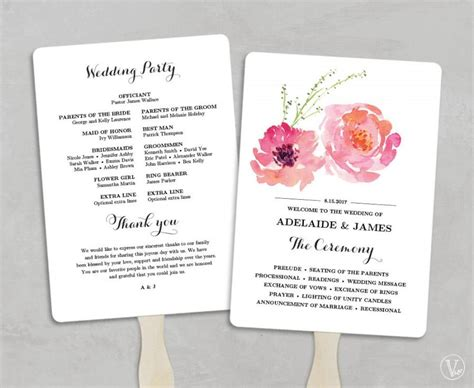 fan template for wedding program printable wedding program fan template wedding fans diy