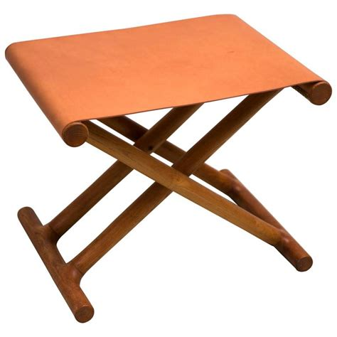 Leather Folding Stool by Mogens Lassen S 1946 Folding Stool In Ash And