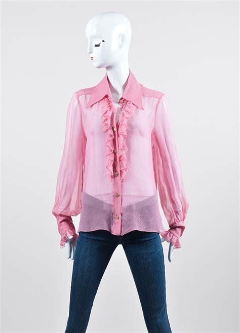 Id Pink Ruffle Silk Blouse pink chanel sheer silk ruffle sleeve button blouse luxury garage sale