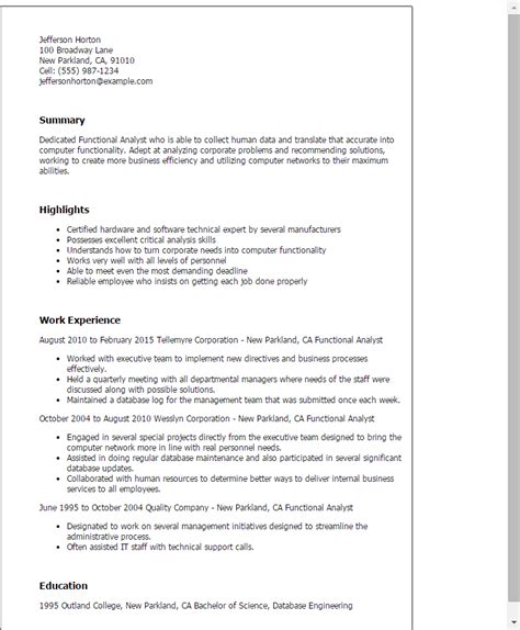 exle of functional resume finance 28 images espinosas functional resume financial planning