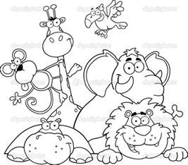 jungle animal coloring pages safari coloring page outlined jungle animals stock