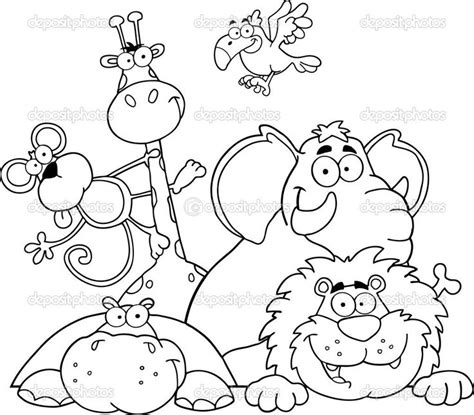 jungle animals coloring pages preschool safari coloring page outlined jungle animals stock