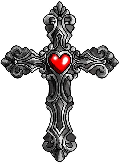 cross heart tattoo designs cross with color by satiricmilk on deviantart