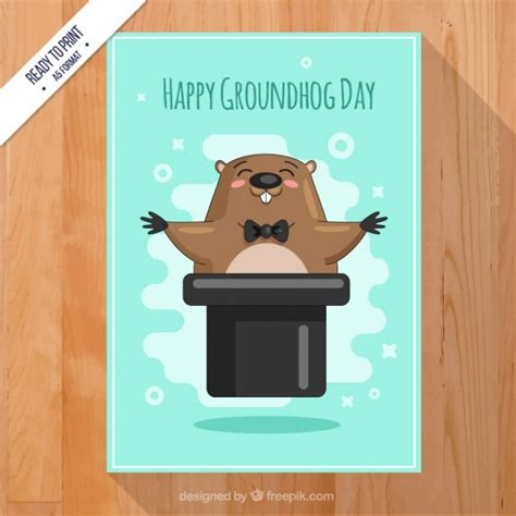 groundhog day cards happy groundhog day card vector free