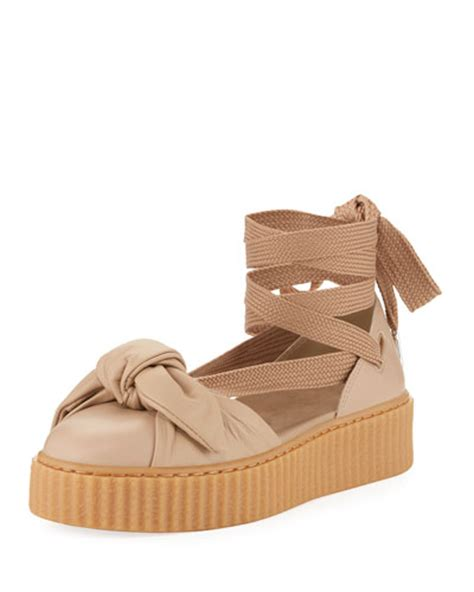 Bow Creepers Sandals Brown fenty x bow leather creeper sandals in neutrals