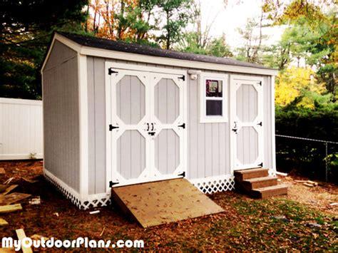 diy backyard storage shed  ramp  steps