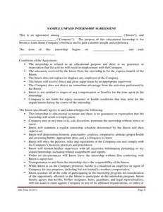 Internship Agreement Letter Format Sle Unpaid Internship Agreement Free