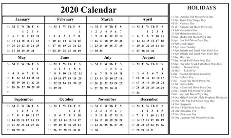 printable sri lanka calendar   holidays