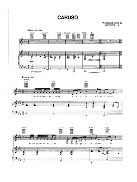 lucio dalla caruso testo lucio dalla caruso spartito per pianoforte flute