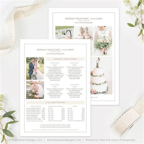 5x7 Wedding Photography Price List Template Organic Wedding Pricing Template