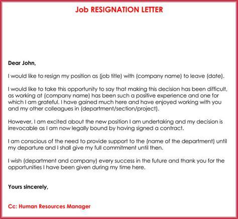 word resignation letter sample letters