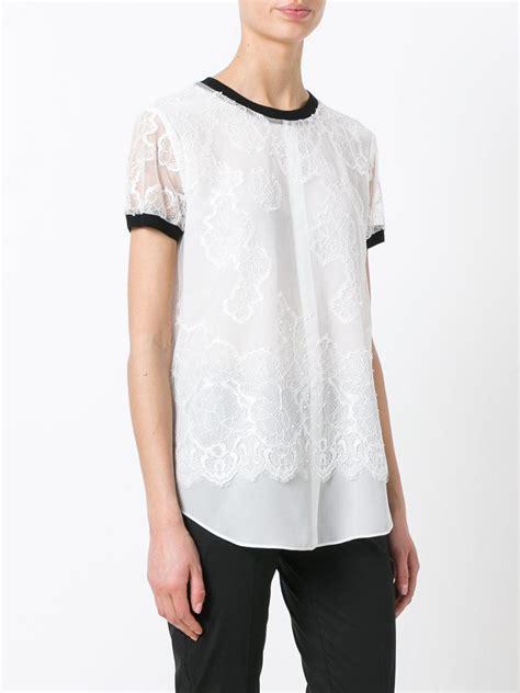 details t shirts lyst set lace details t shirt in white