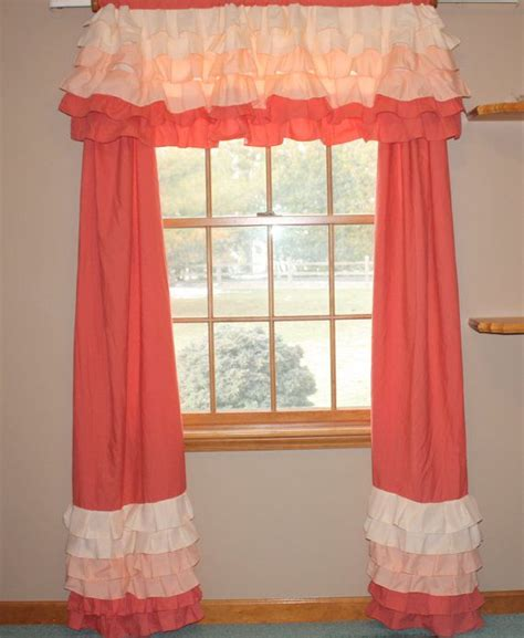 coral ruffle curtains coral ruffle curtains gold dot and coral ruffle curtain