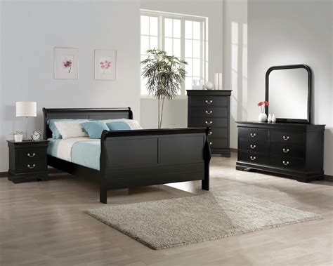 black bedroom suite louis philip 6 bedroom suite in black finish by
