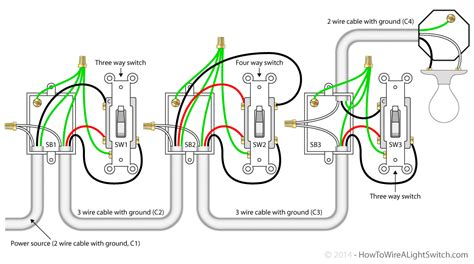 single light 4 way switch power via with four wiring