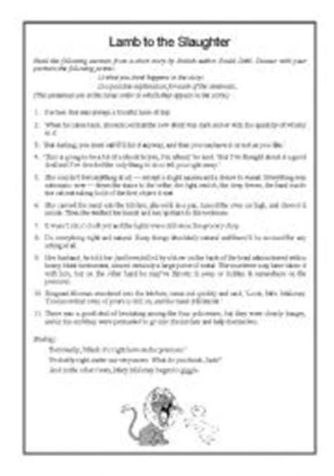 printable version of lamb to the slaughter english teaching worksheets lamb to the slaughter