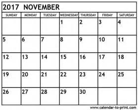 A Calendar For November 2017 November 2017 Calendar Pdf Calendar Printable Free
