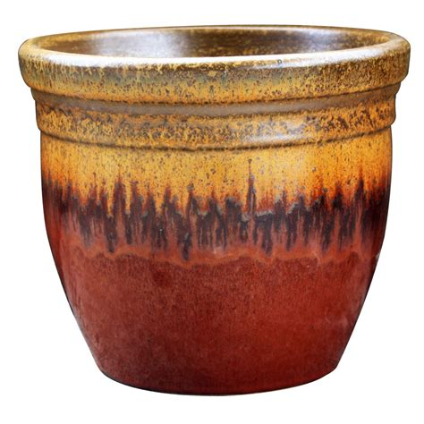 10 Ceramic Planter - shop allen roth 10 6 in w x 9 in h gold ceramic