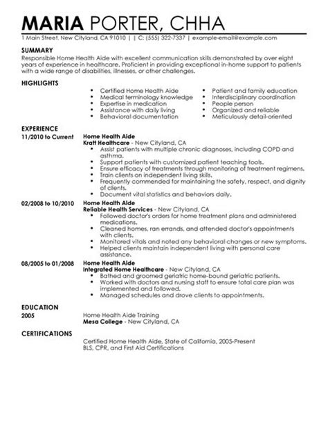 Resume Sles For Health Care Aide Best Home Health Aide Resume Exle Livecareer