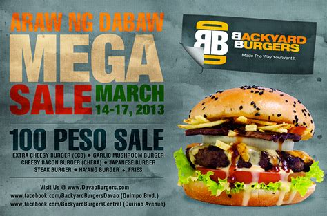 backyard burger quirino araw ng dabaw p100 mega sale at backyard burgers we