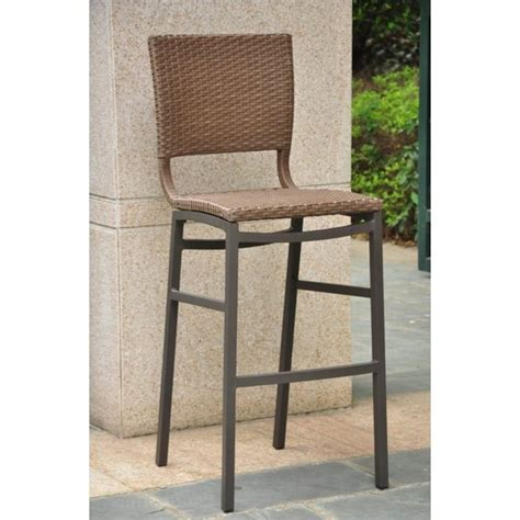 Rattan Outdoor Bar Stools by International Caravan Celona Wicker Honey Set Of 2