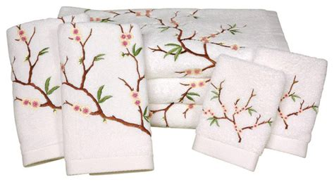 cherry blossom bathroom set cherry blossom bath set 7 piece white traditional towels by oriental furniture
