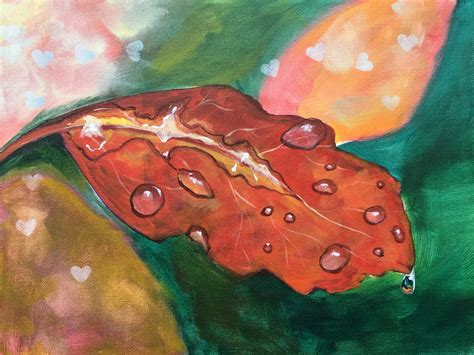 watered acrylic paint on canvas water drops on a fall leaf easy acrylic painting tutorial