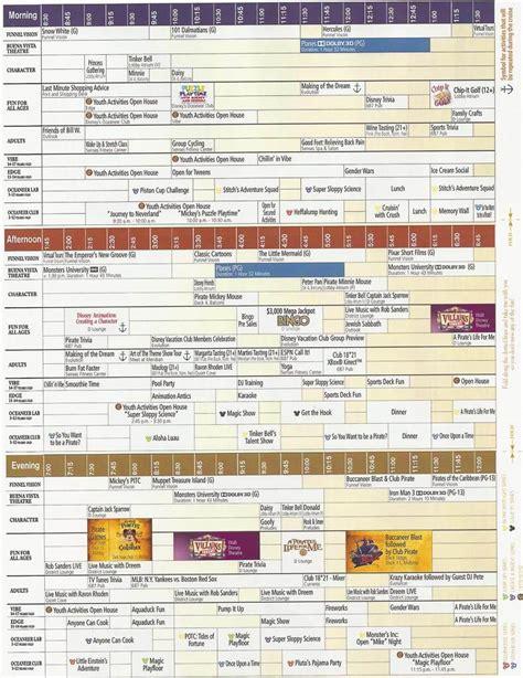 disney schedule disney navigator cruise with gambee