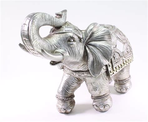 decorative figurines for home feng shui 13 quot silver large elephant trunk statue lucky
