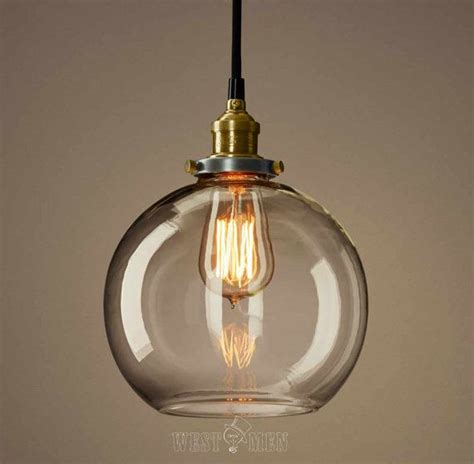 Glass Kitchen Light Fixtures Clear Glass Globe Pendan Light Modern Kitchen Pendant Lighting Ul Listed Copper Base Hanging