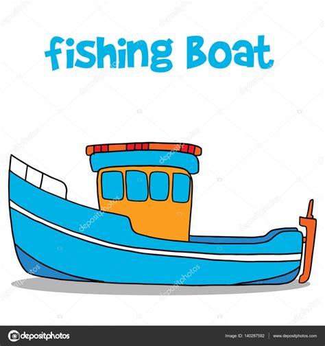barcos de pesca animados arte de vector de dibujos animados de barco de pesca