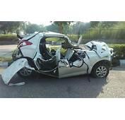 Delhis Early Morning Car Crash Leaves Crumpled Hyundai 2