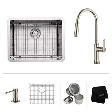 Kraus Kitchen Sink Kraus All In One Undermount Stainless Steel 23 In Single Bowl Kitchen Sink Kbu12 The Home Depot