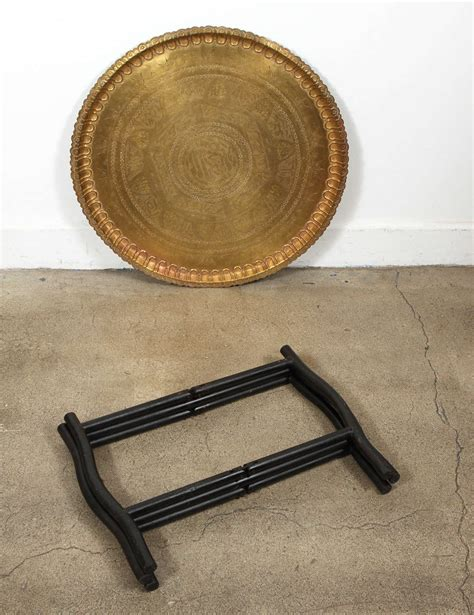 brass tray base moroccan brass tray on folding stand at 1stdibs